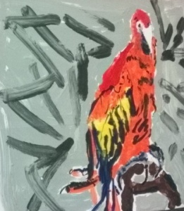 Hand-over-hand painted parrot
